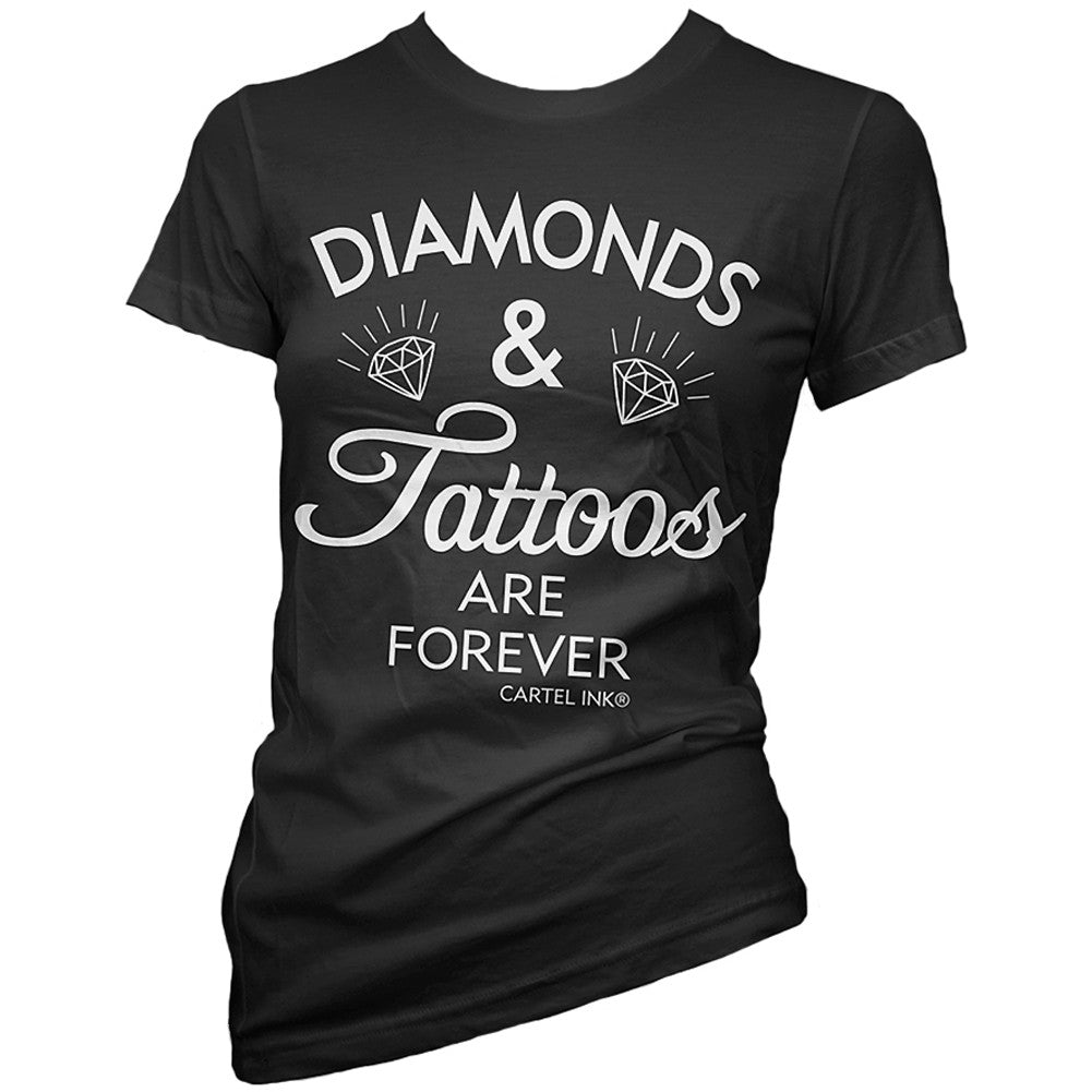 Women's Cartel Ink Diamonds and Tattoos are Forever T-Shirt Black
