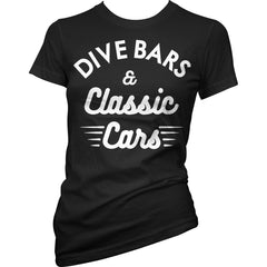 Women's Cartel Ink Dive Bars And Classic Cars T-Shirt Black Booze Drinking