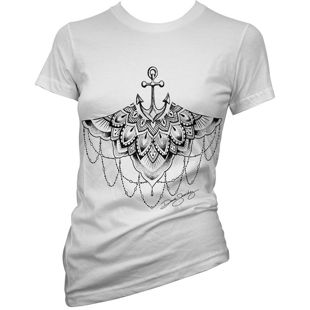 Women's Cartel Ink Gypsy Anchor T-Shirt White Under Boob Tattoo