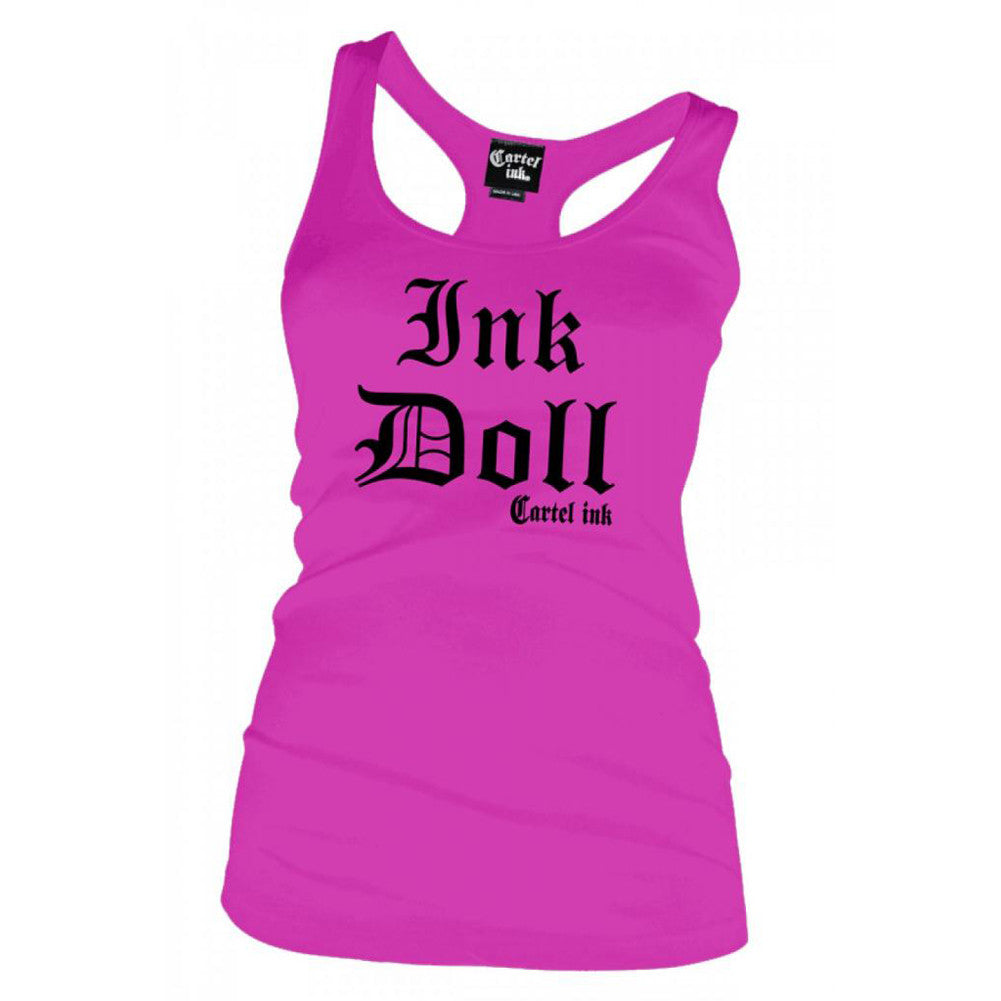 Women's Cartel Ink Ink Doll Racer Back Tank Top Pink Inked Tattooed Tattoo