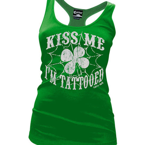 Women's Cartel Ink Kiss Me I'm Tattooed Racer Back Tank Top Green Inked Clover