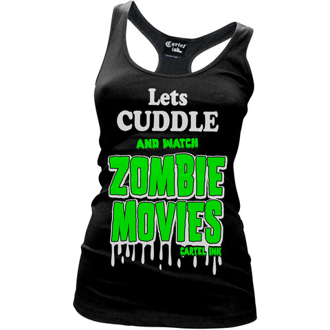 Women's Cartel Ink Let's Cuddle Racerback Tank Top Black Zombie Movies Horror