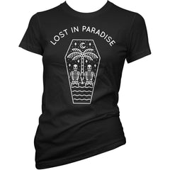 Women's Cartel Ink Lost in Paradise T-Shirt Black Coffin Skeletons Island Summer
