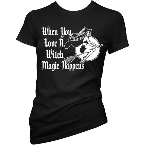 Women's Cartel Ink Love A Witch T-Shirt Black Halloween