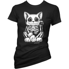 Women's Cartel Ink Lucky Muerte Kitty T-Shirt Black Skeleton Cat Halloween