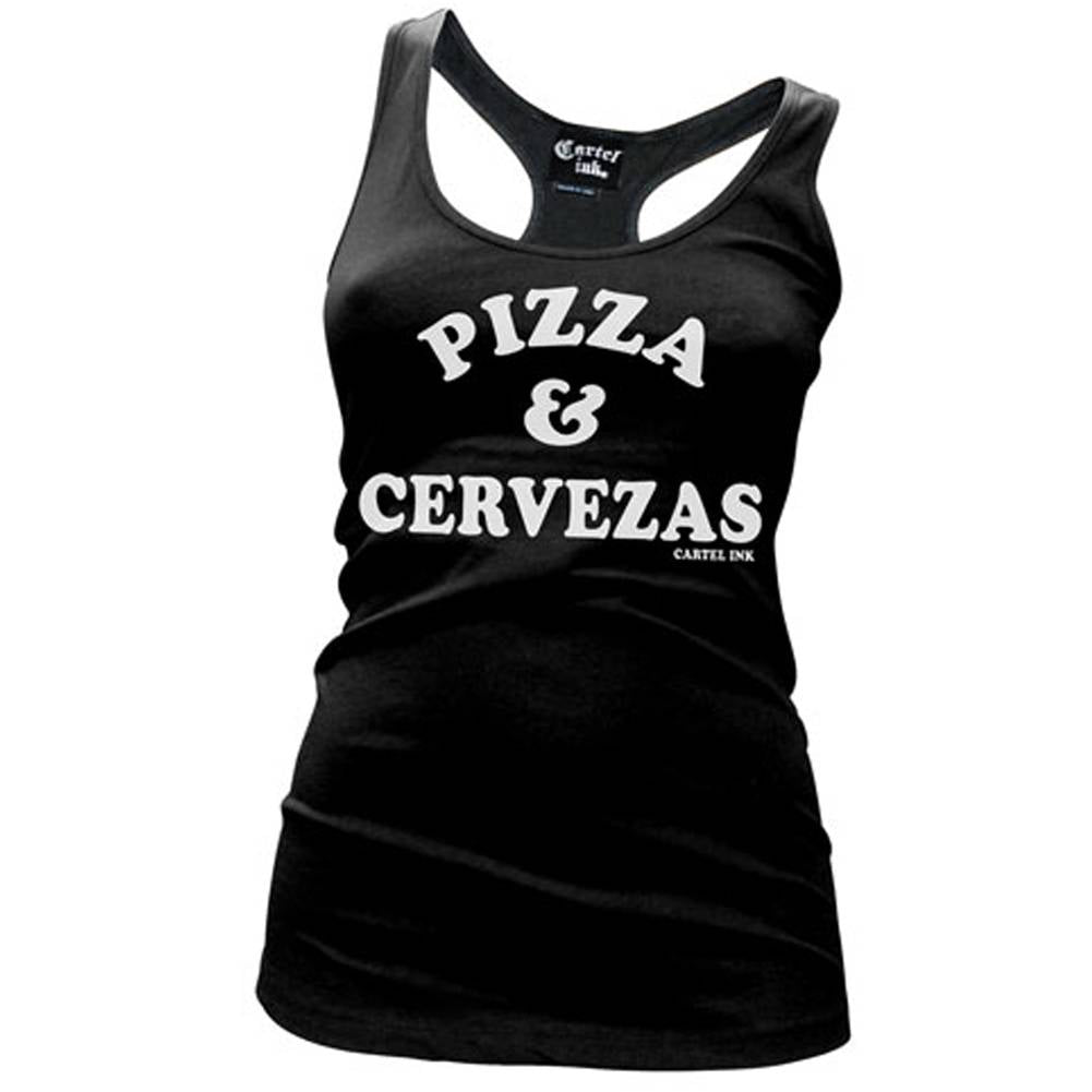 Women's Cartel Ink Pizza & Cervezas Racebank Tank Top Beer Alcohol Drinking