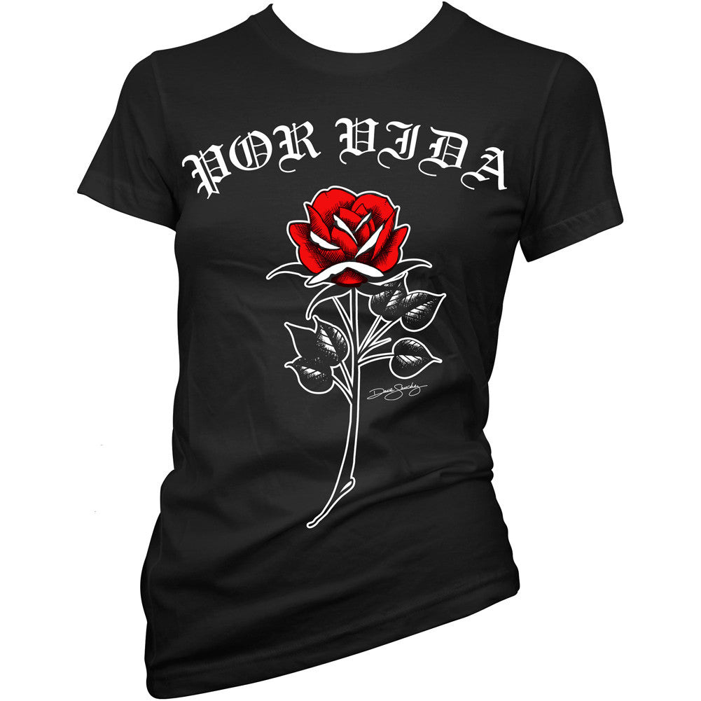 Women's Cartel Ink Por Vida Rose T-Shirt Black Spanish For Life Latina