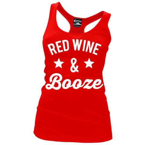 Women's Cartel Ink Red Wine and Booze Racerback Tank Top Red Drinking Party