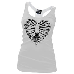 Women's Cartel Ink Skeleton Heart Racerback Tank Top White Bones Ribs