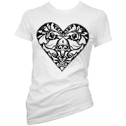 Women's Cartel Ink Stippled Heart T-Shirt White Filigree