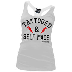 Women's Cartel Ink Tattooed And Self Made Racer Back Tank Top White Inked Life