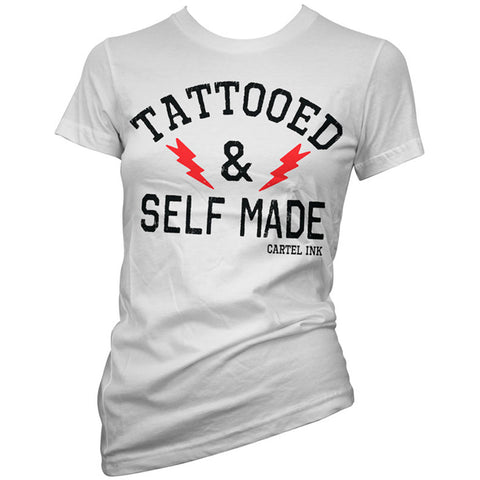 Women's Cartel Ink Tattooed And Self Made T-Shirt White Inked Tattoo Life