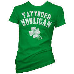 Women's Cartel Ink Tattooed Hooligan T-Shirt Green Inked St Patricks Day