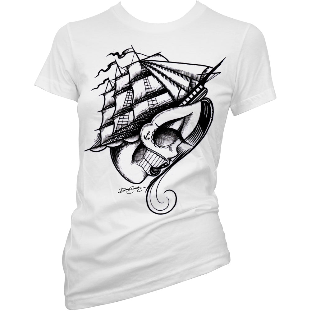 Women's Cartel Ink Wonderlust Girls T-Shirt White Ship Sugar Skull