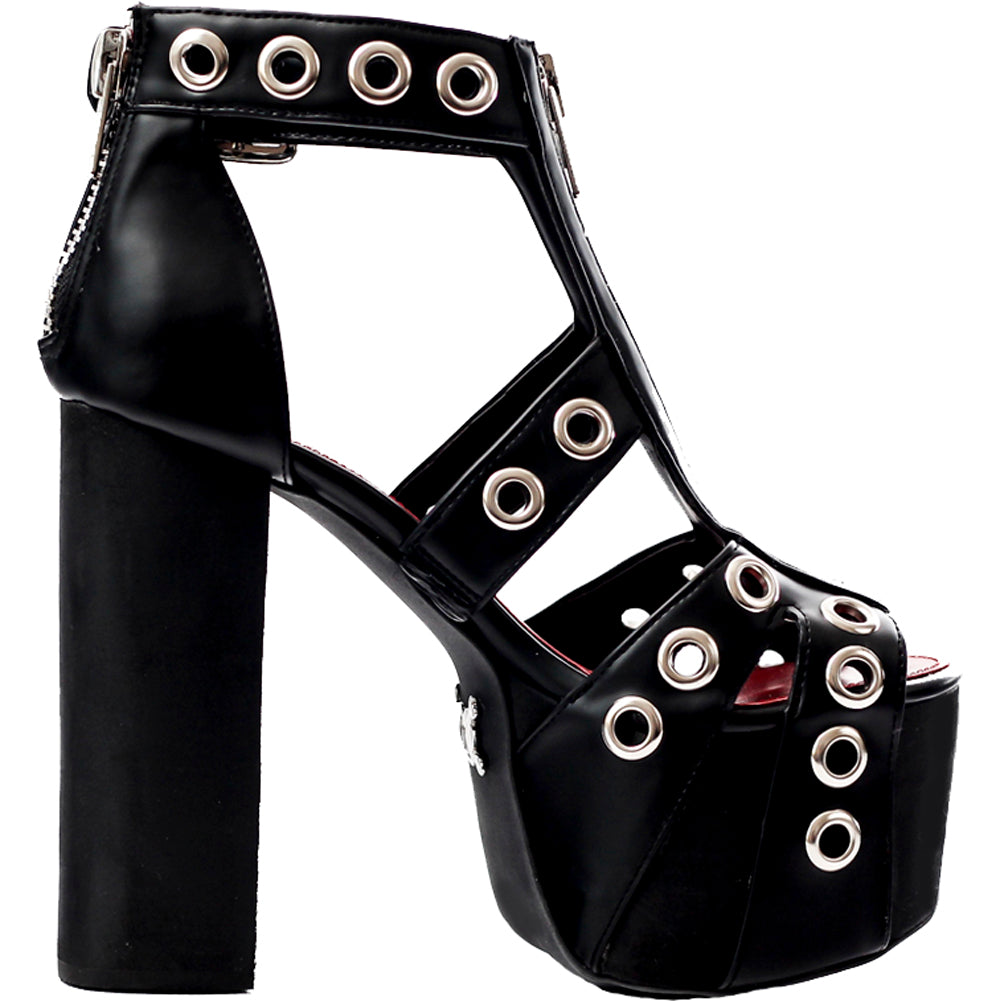 Women's Charla Tedrick Rogue Platform Sandal Black Punk Goth Rock Grommets