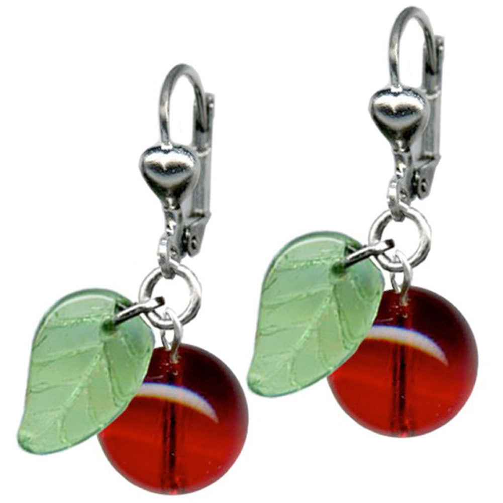 Women's Classic Hardware Cherry Retrolite Glass Earrings Rockabilly Retro