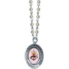 Women's Classic Hardware Small Pink Sacred Heart Oval Locket Necklace