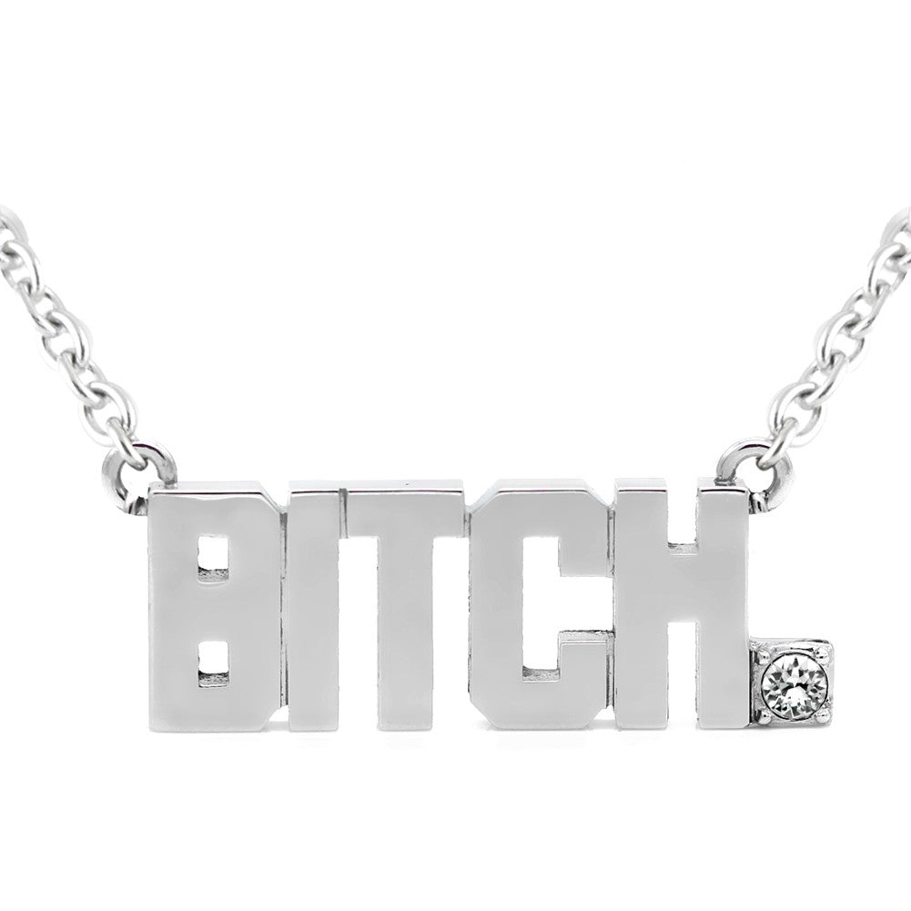 Women's Controse Jewelry BITCH Pendant Necklace With Swarovski Crystal