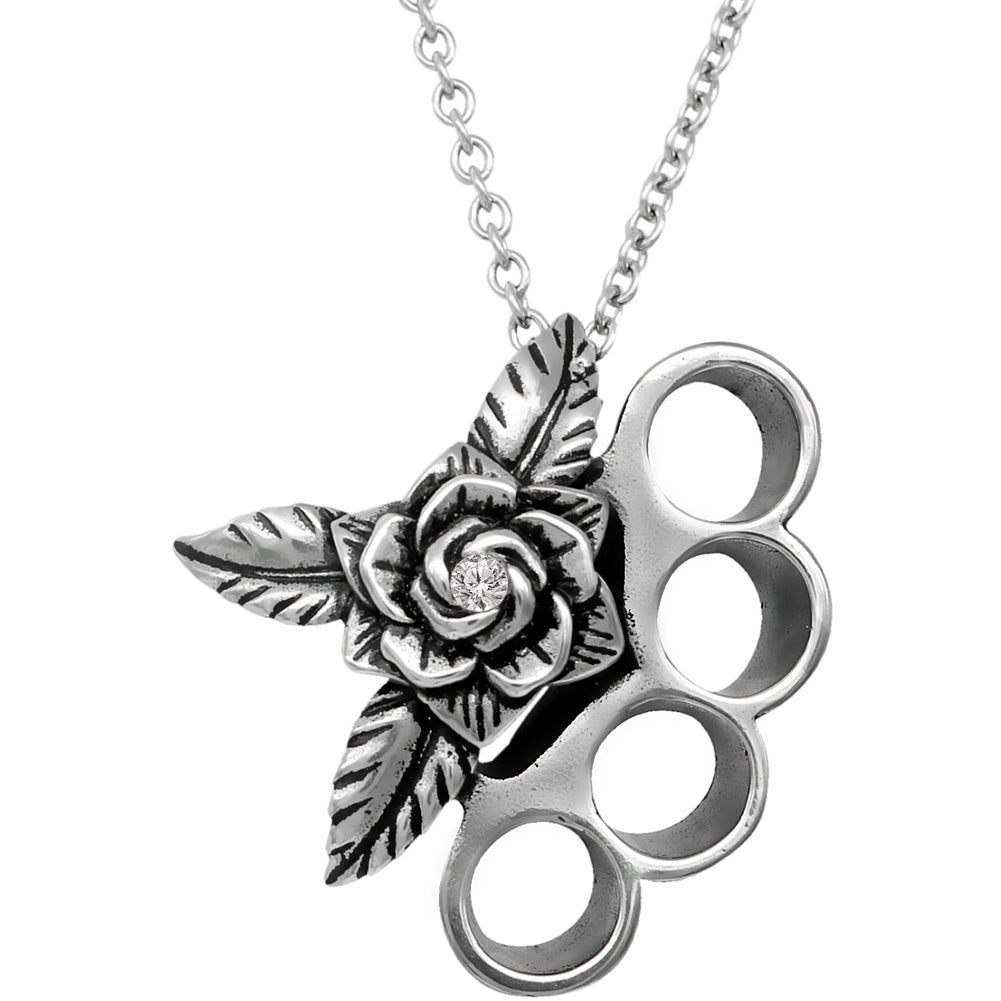 Controse Jewelry Beautifully Brutal Knuckles & Rose Necklace
