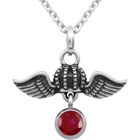 Controse Jewelry Birthstone Crown Royal Flight Necklace Wings