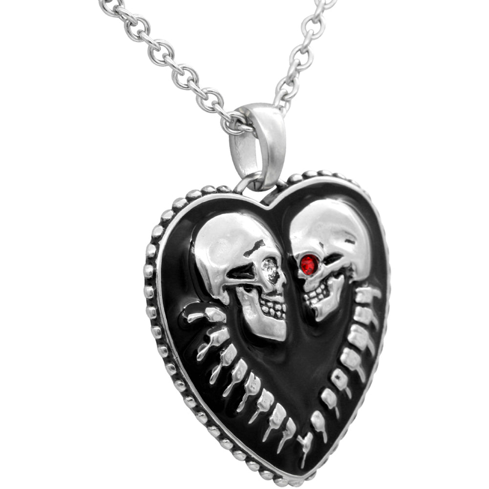 Controse Jewelry Bound For Eternity Skull Heart Necklace Swarovski Crystals