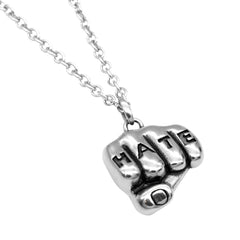 Controse Jewelry Hate Tattooed Hand Necklace Inked Knuckles