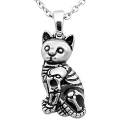 Controse Jewelry Kitty Cat Skeleton Necklace Silver Bones