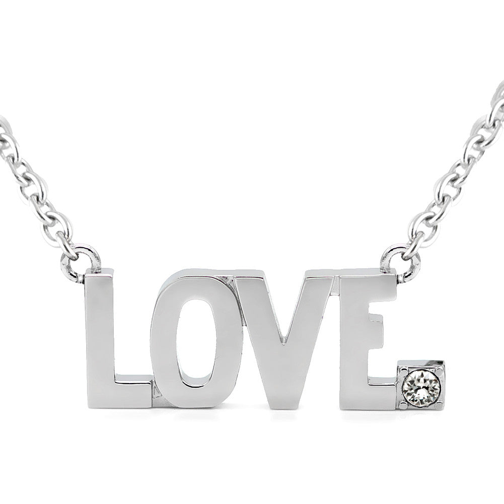 Women's Controse Jewelry LOVE Pendant Necklace With Swarovski Crystal