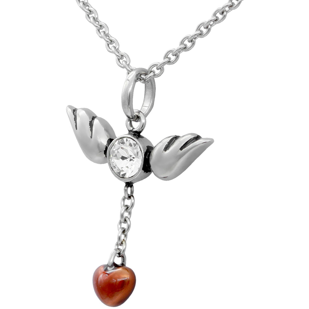 Controse Jewelry Love In Flight Heart and Wings Necklace Swarovski Crystal