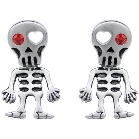 Controse Jewelry Love-Struck Red Eye Skeleton Earrings Cute Skull Bones Heart