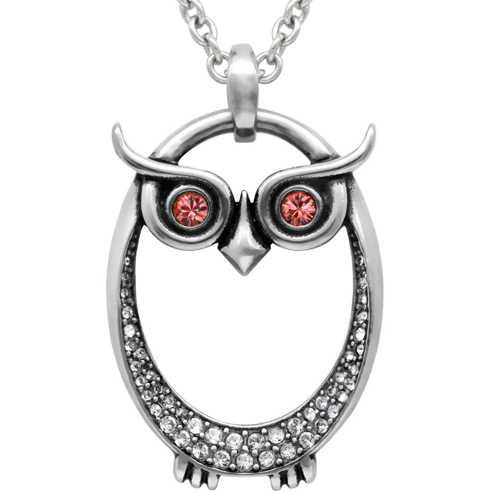 Controse Jewelry Owl July Birthstone Necklace Swarovski Crystals