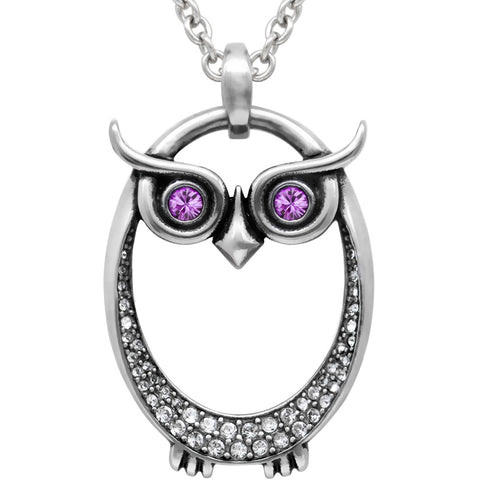 Controse Jewelry Owl June Birthstone Necklace Swarovski Crystals