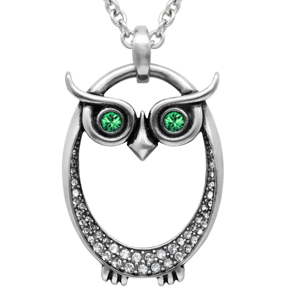 Controse Jewelry Owl May Birthstone Necklace Swarovski Crystals