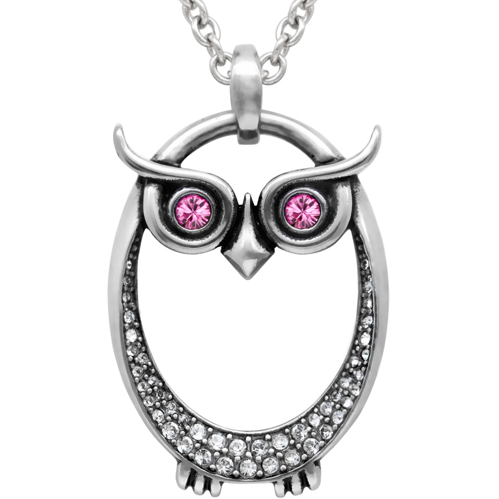 Controse Jewelry Owl October Birthstone Necklace Swarovski Crystals