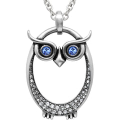 Controse Jewelry Owl September Birthstone Necklace Swarovski Crystals
