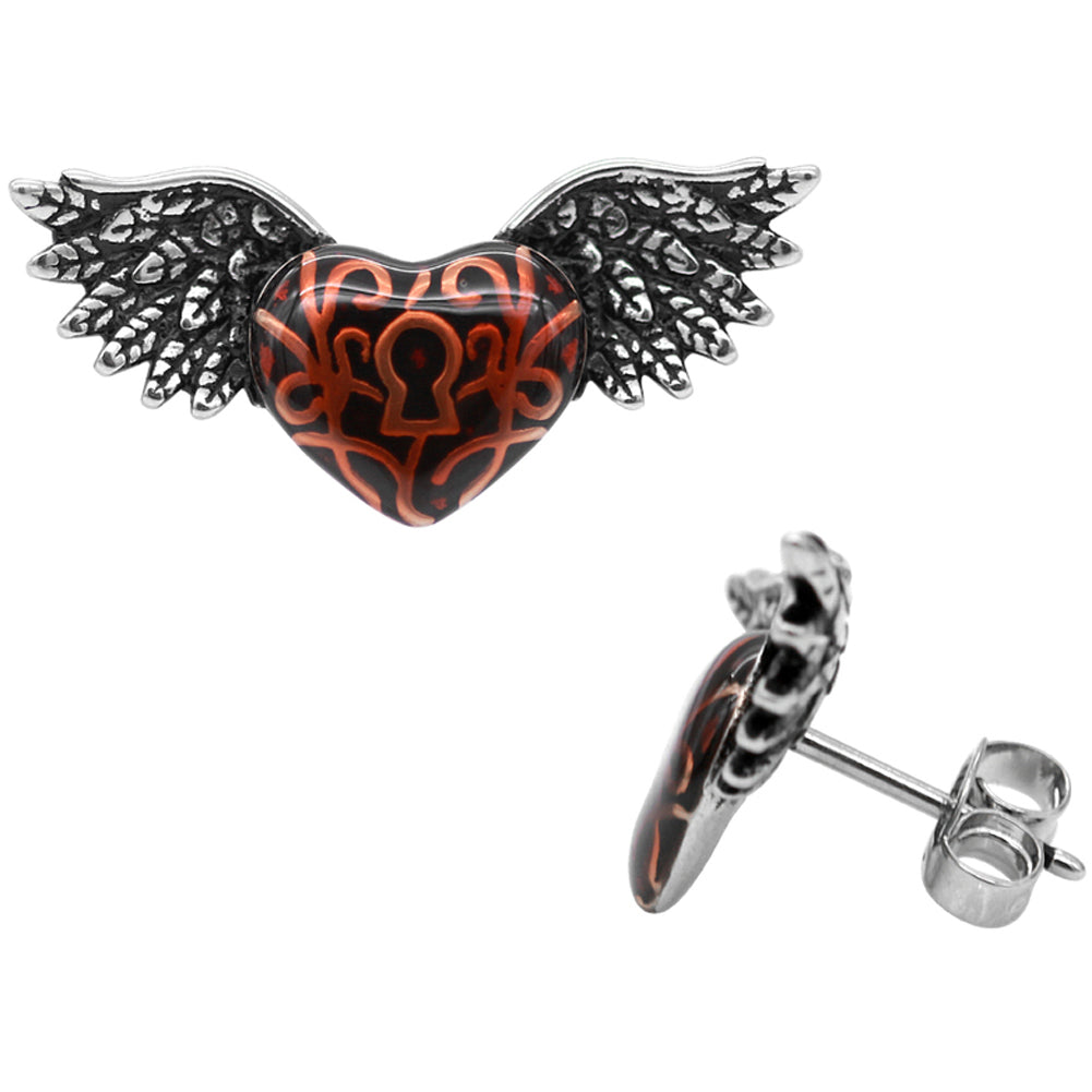 Controse Jewelry Red Winged Heart With Keyhole Earrings Stud Earrings