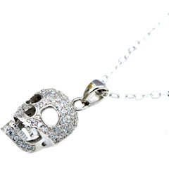 Controse Jewelry Silver Skull Necklace with CZ Crystals