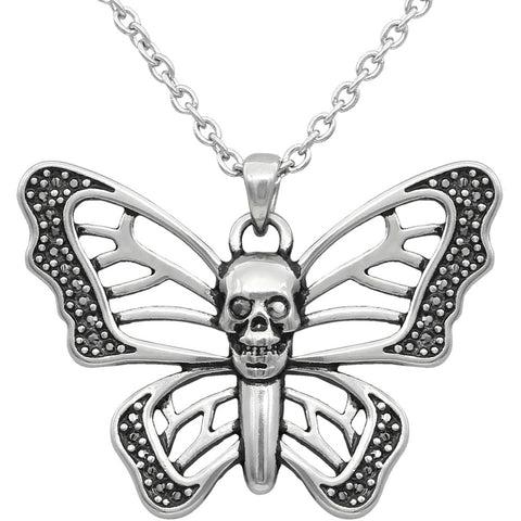 Women's Controse Jewelry Skull Butterfly Necklace Silver Swarovski Crystals