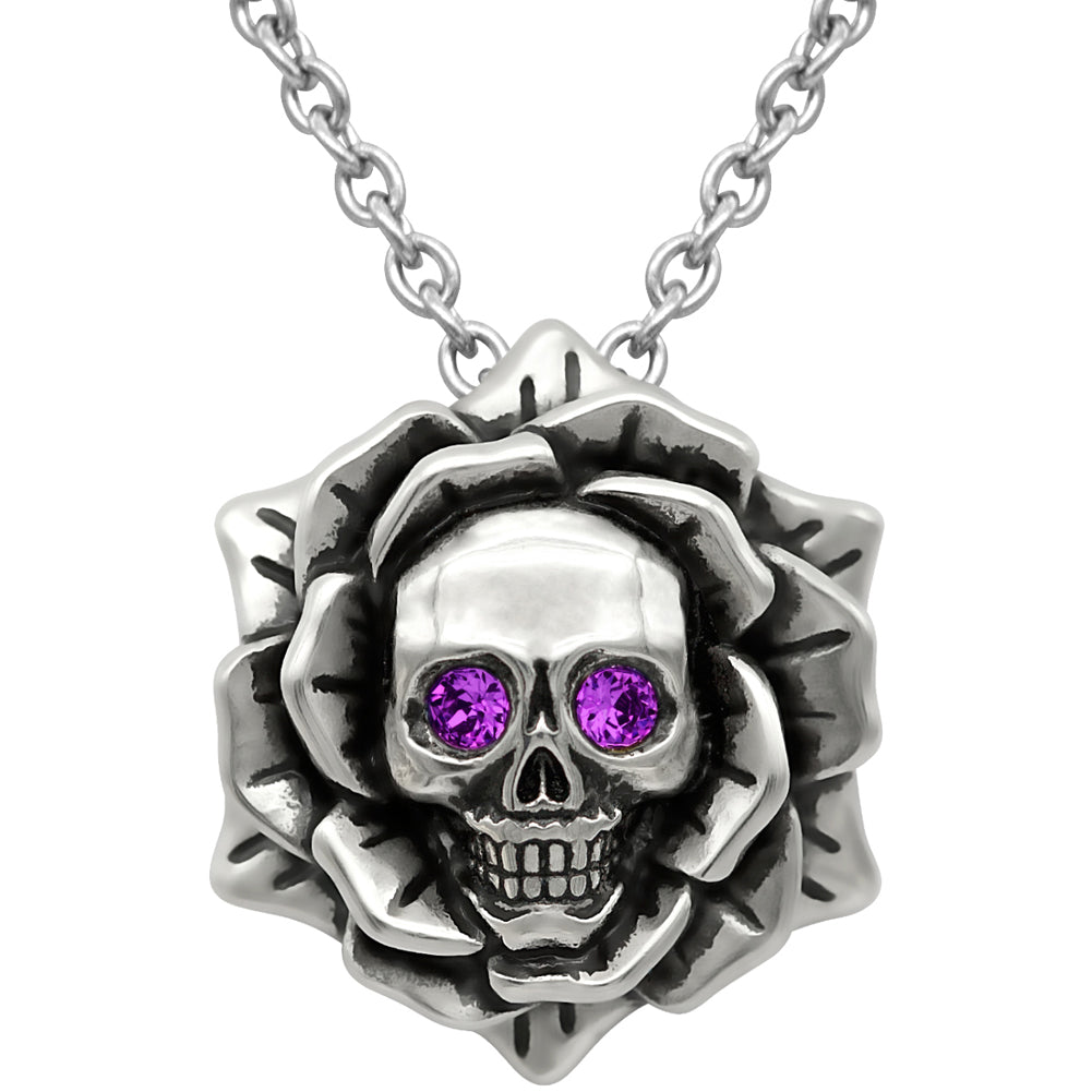 Controse Jewelry Skull Rose February Birthstone Necklace Swarovski Crystals