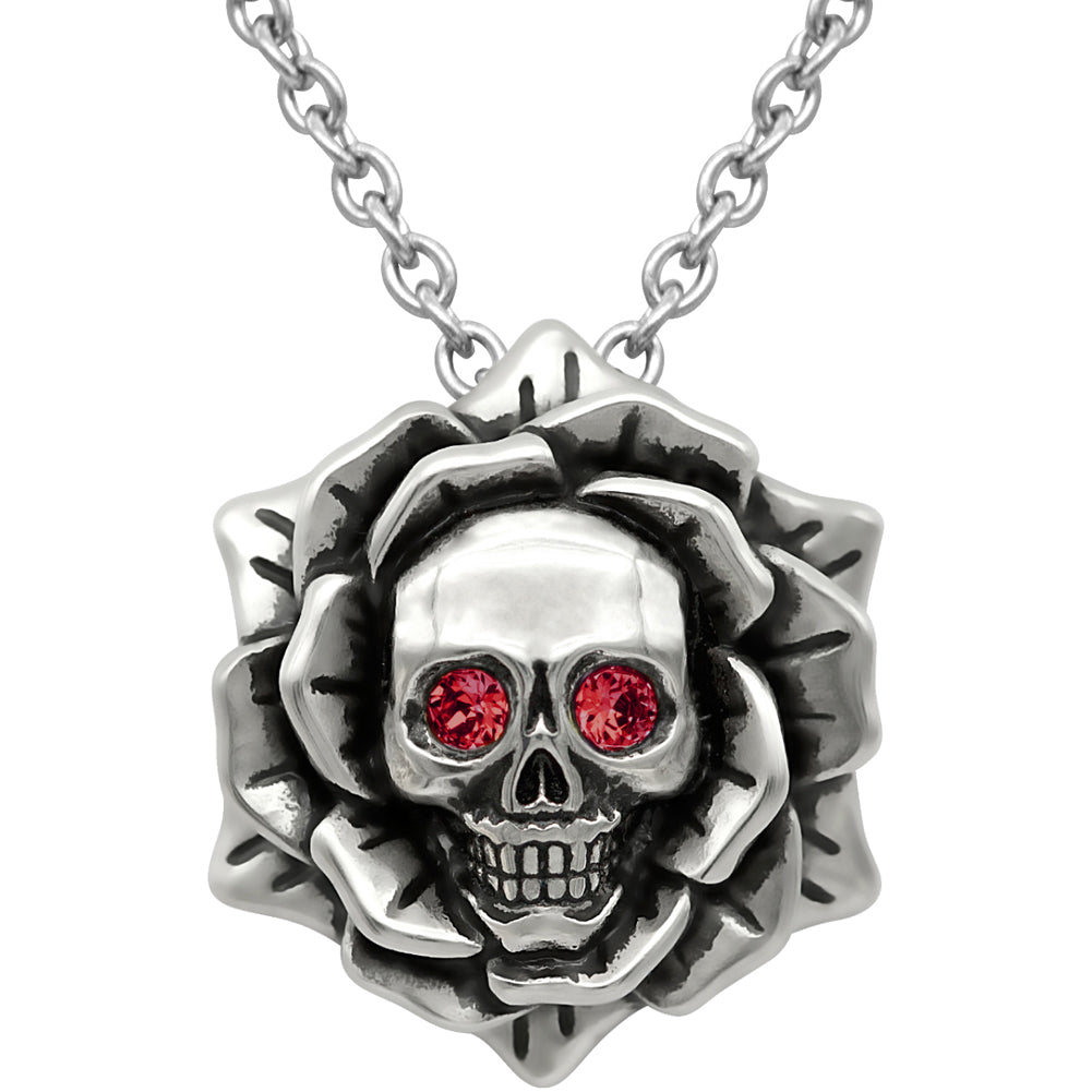 Controse Jewelry Skull Rose January Birthstone Necklace Swarovski Crystals