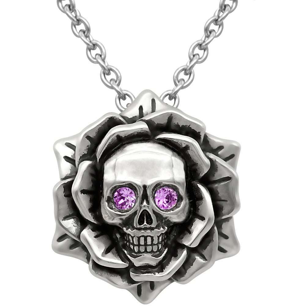 Controse Jewelry Skull Rose June Birthstone Necklace Swarovski Crystals