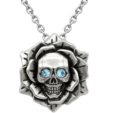 Controse Jewelry Skull Rose March Birthstone Necklace Swarovski Crystals