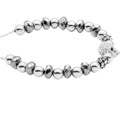 Women's Controse Jewelry Studded Skull Bead Pull-Chain Bracelet Silver
