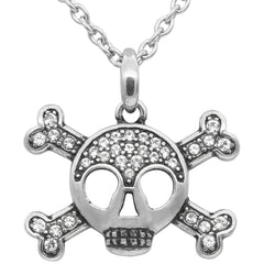 Controse Jewelry Studded Skull & Crossbones Necklace Swarovski Crystal