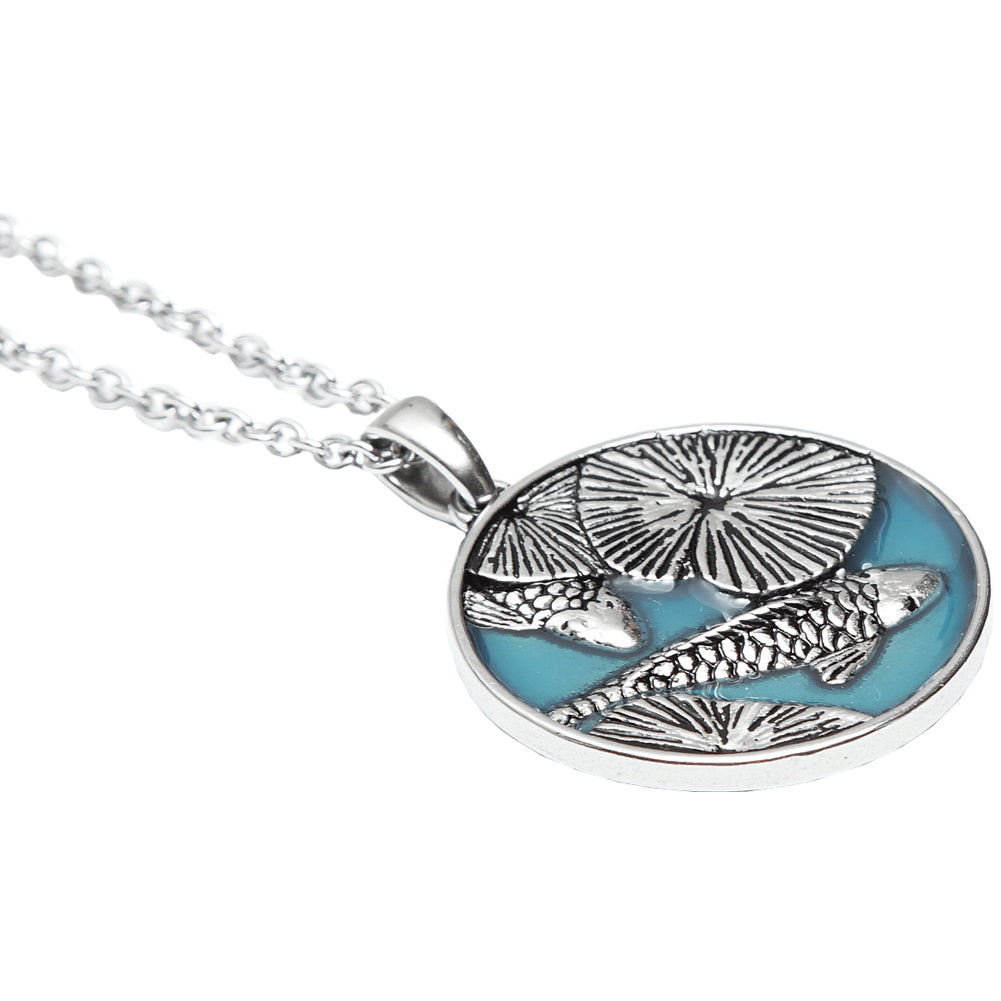 necklace sterling pendant en koi fish silver ko