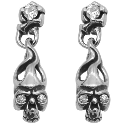 Controse Jewelry White CZ Eyes Fire Skull Earring Posts