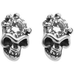 Controse Jewelry White CZ Skull Earrings Posts