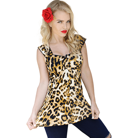 Women's Demi Loon Betty Babydoll Pinup Top Leopard Animal Print