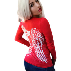 Women's Demi Loon Fallen Angel Wings Tattoo Biker T-Shirt Red Long Sleeve Wings