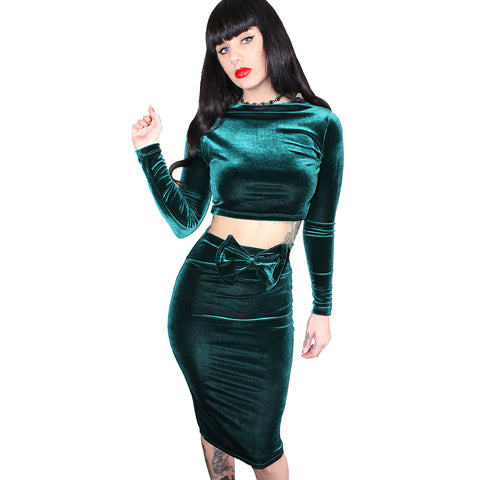 Demi Loon Lolita Baby Hourglass Skirt Emerald Pin Up Sexy Velvet Bow